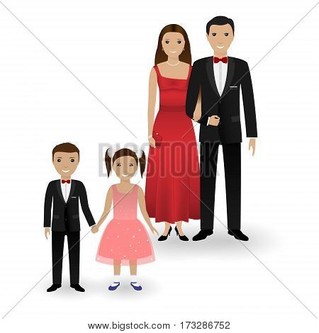 Male and female couple and two kids in elegant clothes for official social events isolated on a white background. Black tie dress code. Cocktail evening. Vector illustration.