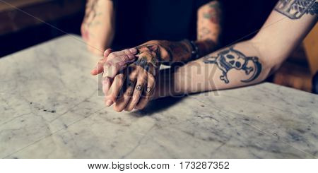 Tattoo Hands Hold Together Relationship