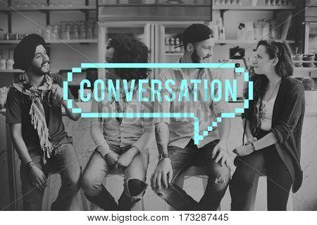 Speech bubble communication icon word