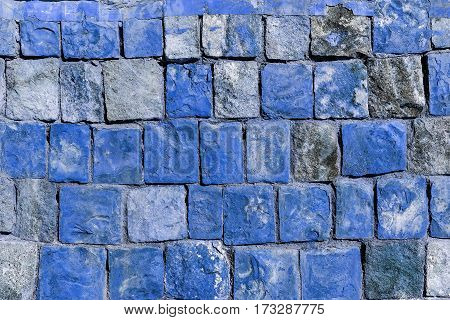 Background Old Broken The Blue Brick Wall