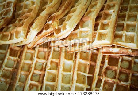 Sweet waffle baked in the oven put one on one batter.