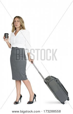 Businesswoman Passenger Traveling Vacation Suitcase Concept