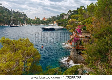 Pleasure boats and yachts in the harbor village of Portofino. Italy. Liguria. Cinque Terre.