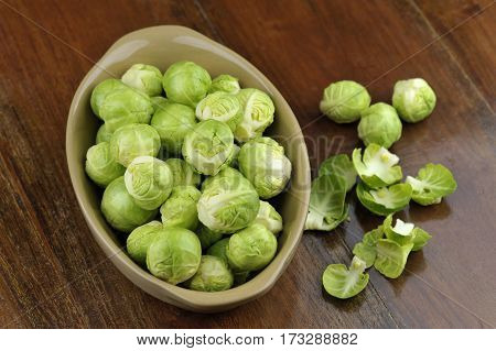 Freshly picked and prepared raw brussels sprouts brassica oleracea.