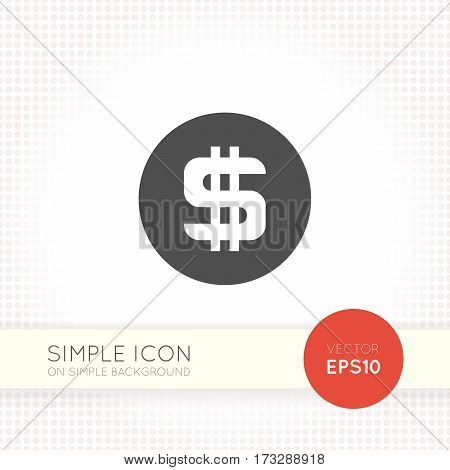 Coin with dollar sign flat icon isolated on simple light background. Dollar icon for interface button or design of website.