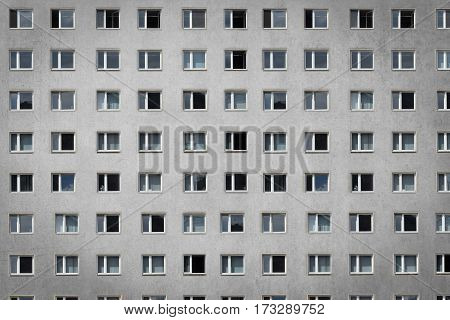 many windows on building facade - apartment block