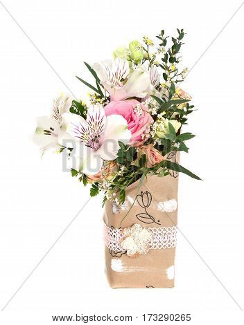 Design Bouquet of pink and white blooming flowers on the white.