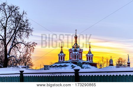 dome of the Brusensky monastery in Kolomna in the winter at sunset