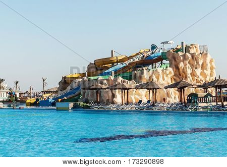Empty Colorful Water Slides And A Swimming Pool. Egipet.hurgada .the Golden 5, October 7, 2016