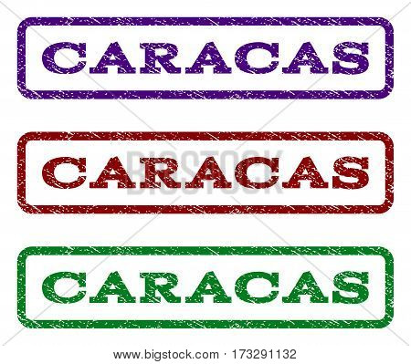 Caracas watermark stamp. Text caption inside rounded rectangle with grunge design style. Vector variants are indigo blue red green ink colors. Rubber seal stamp with scratched texture.