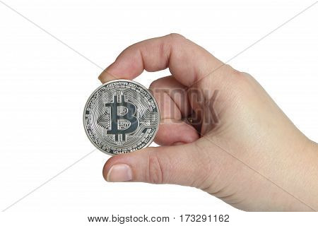 silver bitcoin in hands on white background