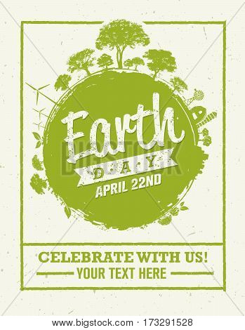 Earth Day Eco Green Vector Poster Design. Organic Circle Concept on Paper Background.