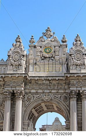 Top view of Gate of the Sultan Dolmabahce Palace, Istanbul, Turkey