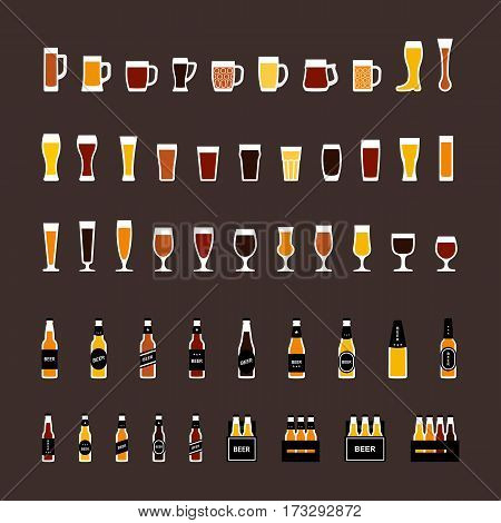 Beer glasses and bottles colored icons set in flat style. Vector illustration