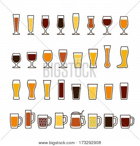 Beer in glasses and mugs, different types, various colors. Vector icon set