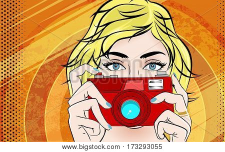 Comic Book Pop Art illustration with Girl. Movie Star with Foto Camera. Photographer or Videographer Vintage Advertising Poster. Fashion Woman with Photo Camera.