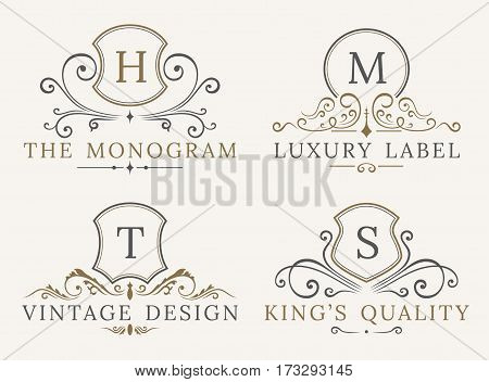 Luxury Logo Template. Shield Business Sign for Signboard. Monogram Identity for Restaurant, Hotels, Boutique, Cafe, Shop, Jewelry, Fashion. Flourishes Vector Calligraphic Ornament Elements.