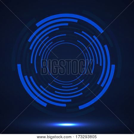 Abstract technology circles, geometric logo, vector illustration