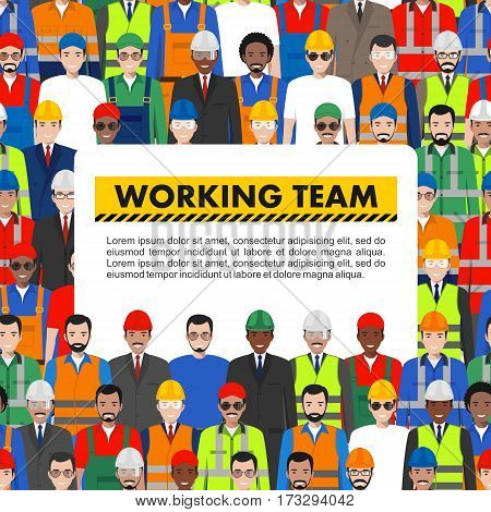 Vector seamless pattern group of working people standing together. Different nationalities and dress styles. Cute and simple in flat style. Illustration of society members. Design people characters.