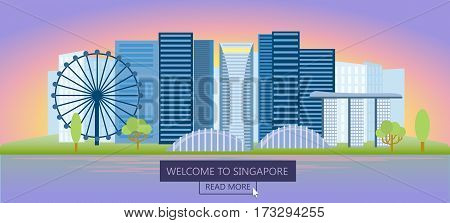 Welcome to singapore banners, poster with marina bay and business district, panoramic view of the city at night. Vector isolated illustration
