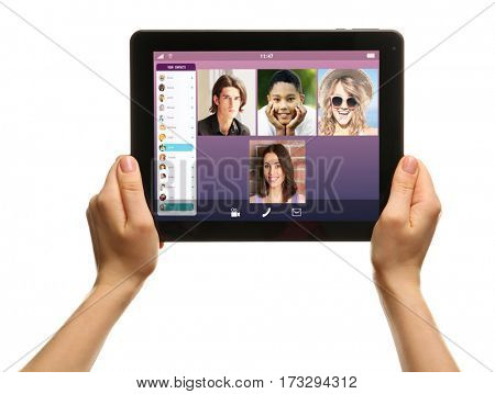 Video call and chat concept. Woman video conferencing on tablet, white background