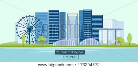 Welcome to singapore banners, poster with marina bay and business district, panoramic view of the city at day. Vector illustration