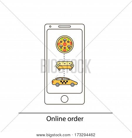 Line Drawn Icon And Concept of Mobile app for ordering taxi, pizza and furniture. Vector illustration