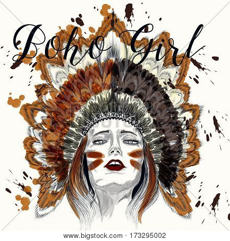 Beautiful boho illustration with hand drawn sensual girl in headdress from feathers and ink spots