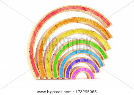 Cartoon styled abstract wooden rainbow isolated on white background. 3d rendering