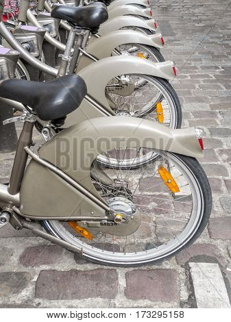 PARIS, FRANCE - AUGUST 25 2013: Rental city bike station in Paris, France