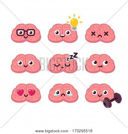 Cute cartoon brain emoticons set, vector illustration.