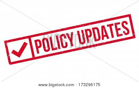 Policy Updates rubber stamp. Grunge design with dust scratches. Effects can be easily removed for a clean, crisp look. Color is easily changed.