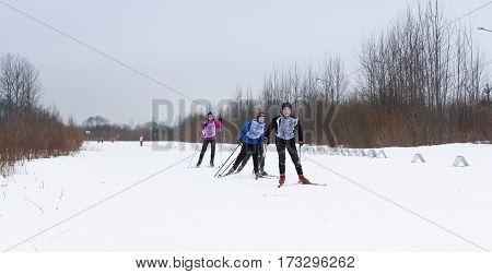 Kirishi, Russia - 11 February, The leading group in the race, 11 February, 2017. Mass ski race Russian Ski Track.