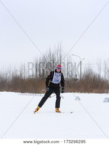 Kirishi, Russia - 11 February, Skiers on the track, 11 February, 2017. Mass ski race Russian Ski Track.