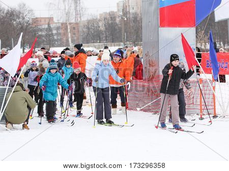Kirishi, Russia - 11 February, Start small skiers, 11 February, 2017. Mass ski race Russian Ski Track.