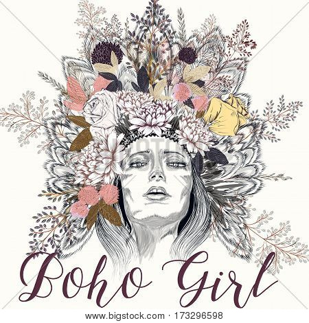 Boho illustration with girl feathers and spring flowers