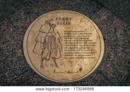 NEW YORK CITY, USA - AUGUST 14, 2016: Street sign with mention of Perry Ellis an American fashion designer who founded his eponymous sportswear house, in the mid-1970s.