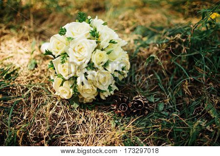 Wedding Bouquet Of White Roses Grass At Wood With Pine Cones And Wedding Rings.