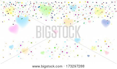 Bright Confetti. Abstract background with colorful confetti vector illustration for Carnival, Birthday, Holiday celebration.