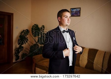 Man Wear Jacket. Groom At Wedding Day.