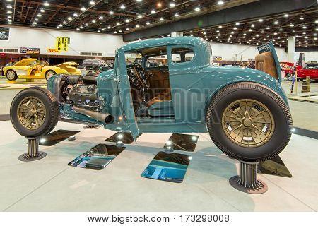 DETROIT MI/USA - February 24 2017: A 1930 Ford Model A coupe,