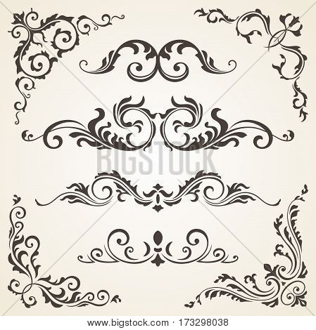 Vector set of Swirl Elements and Corners for design. Vector set of Calligraphic Design Elements for page decoration, Labels, banners, baroque Frames and floral ornaments. Old paper Decoration