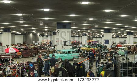 DETROIT MI/USA - February 24 2017: The Detroit Autorama Extreme hot rod showroom floor.