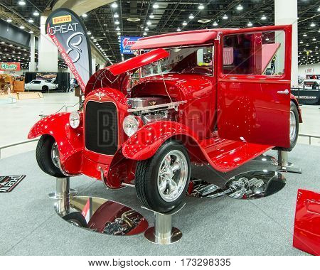 DETROIT MI/USA - February 25 2017: A 1929 Ford pickup truck interpretation,
