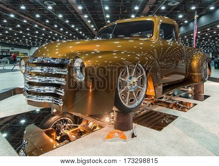 DETROIT MI/USA - February 25 2017: A 1949 Chevrolet C10 pickup truck interpretation,