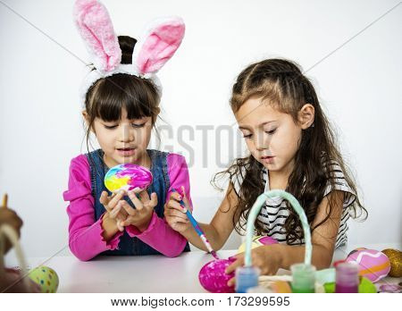 Easter Children Together Painting Concept