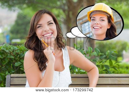 Thoughtful Young Woman with Herself as a Contractor or Builder Inside Thought Bubble.