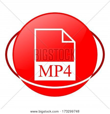Red icon, mp4 file vector illustration on white background