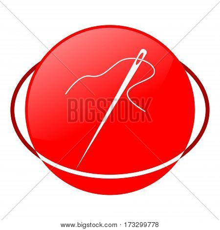 Red icon, needle vector illustration on white background