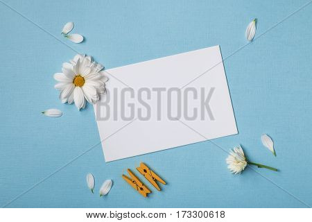 Spring top view composition: blank stationary template / invitation mockup scattered petals around white flowers with yellow heart clothespins. Sky blue background with copy space for text. Flat lay.